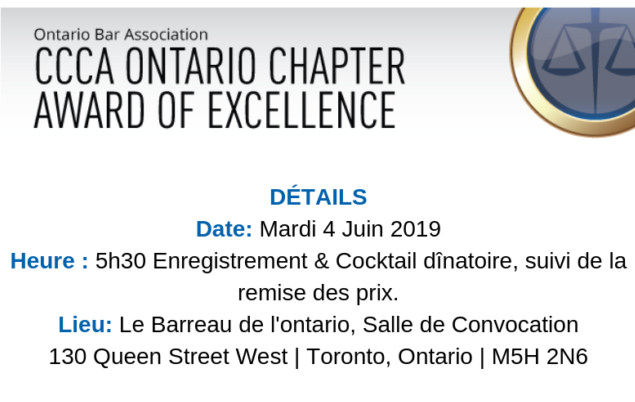 CCCA Ontario chapter award of excellence